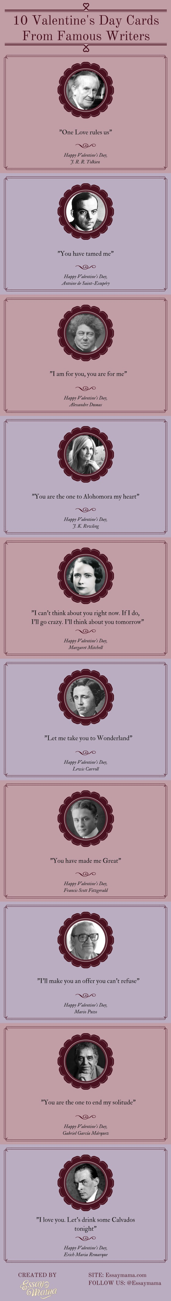 Valentine's Day Cards From Famous Writers